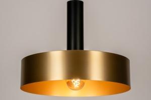 hanglamp 13800 modern retro eigentijds klassiek art deco messing geschuurd metaal zwart mat messing rond