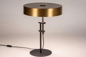 tafellamp 13801 modern retro eigentijds klassiek art deco messing metaal zwart mat goud messing rond