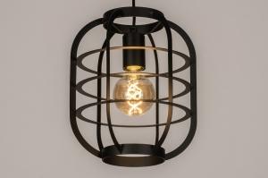 hanglamp 13811 industrie look landelijk rustiek modern metaal zwart mat rond