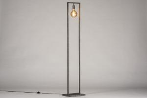 vloerlamp 13814 industrie look landelijk rustiek modern stoer raw metaal zilver  oud zilver rechthoekig
