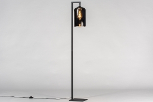vloerlamp 13848 modern retro eigentijds klassiek art deco glas metaal zwart mat grijs rond rechthoekig