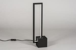 tafellamp 13849 design modern metaal zwart mat vierkant rechthoekig