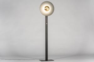 vloerlamp 13851 design modern messing geschuurd metaal zwart mat goud antraciet donkergrijs messing rond