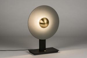 tafellamp 13852 design modern messing geschuurd metaal zwart mat goud antraciet donkergrijs messing rond
