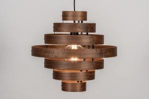 Pendelleuchte 13853 laendlich rustikal modern Retro zeitgemaess klassisch Holz dunkeles Holz braun Holz rund
