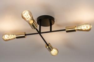 plafondlamp 13857 industrie look modern retro eigentijds klassiek art deco messing geschuurd metaal zwart mat goud messing rond