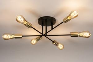 plafondlamp 13859 industrie look modern retro eigentijds klassiek art deco messing geschuurd metaal zwart mat goud messing rond
