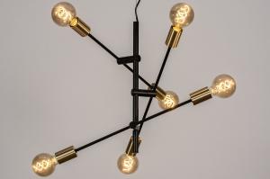 hanglamp 13860 modern retro eigentijds klassiek metaal zwart mat goud messing