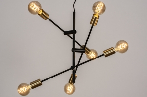 Pendelleuchte 13860 modern Retro zeitgemaess klassisch Metall schwarz matt Gold Matt Messing