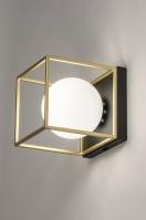Deckenleuchte 13861 modern Retro zeitgemaess klassisch Art deco Glas mit Opalglas Messing Metall schwarz matt weiss matt Gold viereckig