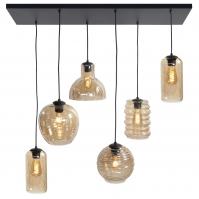 hanglamp 13863 modern eigentijds klassiek glas metaal zwart mat bruin geel