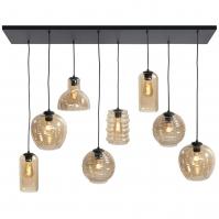 hanglamp 13864 modern eigentijds klassiek glas metaal zwart mat bruin geel