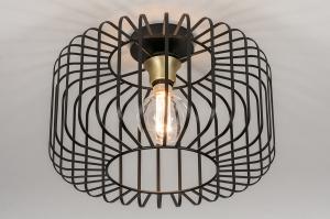 plafondlamp 13866 landelijk rustiek modern eigentijds klassiek messing metaal zwart mat messing rond
