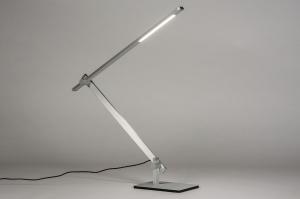 tafellamp 13868 design modern aluminium geschuurd aluminium aluminium langwerpig rechthoekig