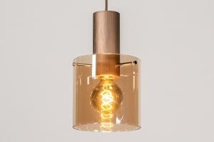 hanglamp 13874 landelijk rustiek modern eigentijds klassiek glas aluminium metaal koper