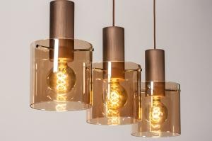 hanglamp 13875 landelijk rustiek modern eigentijds klassiek glas aluminium metaal koper