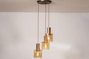 hanglamp 13876 landelijk rustiek modern eigentijds klassiek glas aluminium metaal koper