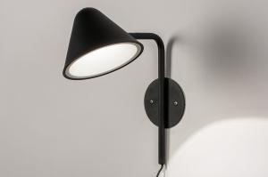 wandlamp 13877 design modern metaal zwart mat rond