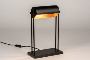 tafellamp 13879 landelijk rustiek modern eigentijds klassiek metaal zwart mat goud