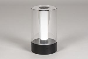tafellamp 13882 modern kunststof acrylaat kunststofglas metaal zwart mat rond
