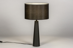 tafellamp 13885 modern stof metaal zwart mat rond