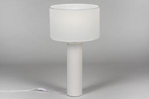 tafellamp 13886 modern stof metaal wit rond
