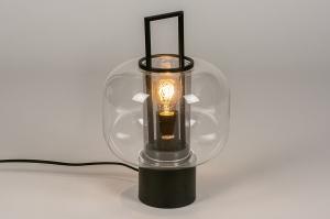 tafellamp 13887 industrie look modern retro glas helder glas metaal zwart mat rond