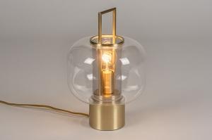 tafellamp 13888 modern retro eigentijds klassiek art deco glas helder glas messing geschuurd metaal goud messing rond