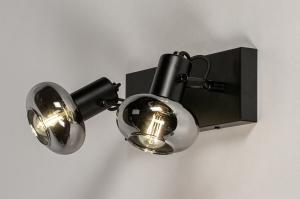 plafondlamp 13896 modern retro glas metaal zwart mat grijs rond rechthoekig