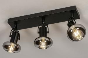 plafondlamp 13897 modern retro glas metaal zwart mat grijs rond rechthoekig