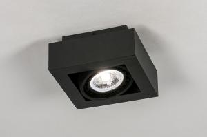 plafondlamp 13931 modern stoer raw aluminium zwart mat vierkant