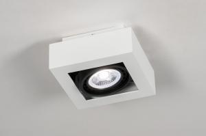 plafondlamp 13932 modern stoer raw aluminium wit mat vierkant