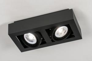 plafondlamp 13933 modern stoer raw aluminium zwart mat rechthoekig