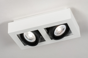 plafondlamp 13934 modern stoer raw aluminium wit mat rechthoekig