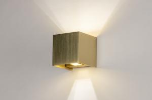 wandlamp 13935 modern eigentijds klassiek art deco messing geschuurd metaal goud messing vierkant