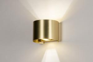 wandlamp 13936 modern klassiek eigentijds klassiek art deco messing geschuurd metaal goud messing rond