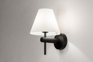 wandlamp 13937 modern glas wit opaalglas metaal zwart mat wit mat rond