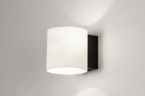 wandlamp 13939 modern glas wit opaalglas metaal zwart mat wit mat rond