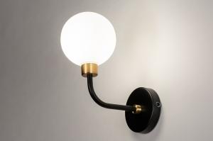 wandlamp 13940 klassiek eigentijds klassiek art deco glas wit opaalglas metaal zwart mat wit goud rond