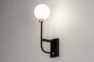 wandlamp 13941 modern retro eigentijds klassiek art deco glas wit opaalglas metaal zwart mat wit mat goud messing rechthoekig