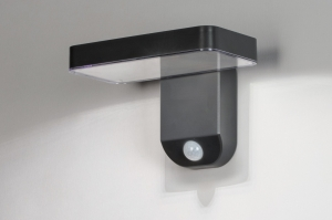 wandlamp 13949 modern kunststof acrylaat kunststofglas antraciet donkergrijs rechthoekig
