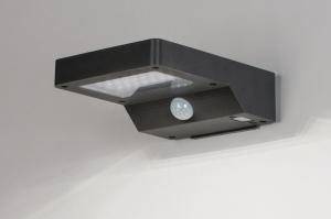 wandlamp 13951 modern kunststof acrylaat kunststofglas antraciet donkergrijs rechthoekig