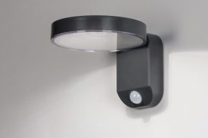 wandlamp 13952 modern kunststof acrylaat kunststofglas antraciet donkergrijs rond