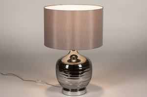 tafellamp 13956 landelijk rustiek modern eigentijds klassiek glas stof grijs chroom