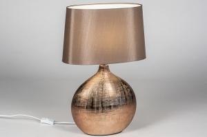 tafellamp 13957 landelijk rustiek klassiek eigentijds klassiek stof metaal brons bruin ovaal