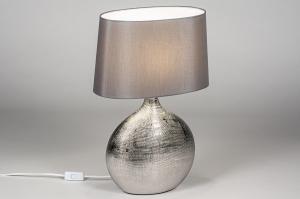 tafellamp 13960 landelijk rustiek klassiek eigentijds klassiek stof metaal grijs zilver  oud zilver chroom ovaal