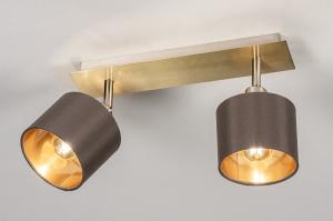 spot 13964 design landelijk rustiek modern eigentijds klassiek stof metaal nikkel grijs goud bruin koper messing langwerpig