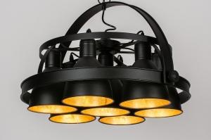 hanglamp 13965 industrie look design modern stoer raw metaal zwart mat goud rond