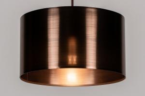 hanglamp 13966 landelijk rustiek modern eigentijds klassiek stof kunststof metaal roest bruin brons roodkoper