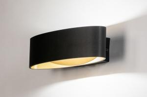 wandlamp 13967 landelijk rustiek modern eigentijds klassiek metaal zwart mat goud ovaal